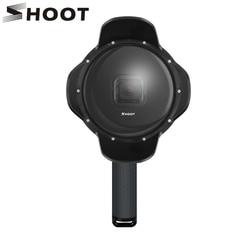 اطلاق النار تحت الماء قبة ميناء ل GoPro بطل 7 6 5 أسود مع تعويم قبضة للماء حالة ظلة عدسة قبة الذهاب برو 6 5 7 التبعي