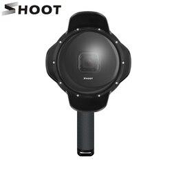 تبادل لاطلاق النار تحت الماء قبة ميناء ل GoPro بطل 7 6 5 الأسود مع تعويم قبضة حافظة مقاومة للماء ظلة عدسة قبة الذهاب برو 6 5 7 ملحق