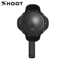 SHOOT GoPro Hero 용 수중 돔 포트 7 6 5 플로트 그립이있는 블랙 방수 케이스 차양 렌즈 돔 Go Pro 6 5 7 액세서리