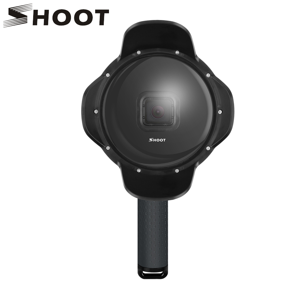 SHOOT Underwater Dome Port for GoPro Hero 7 6 5 Black with Float Grip Waterproof Case Sunshade Lens Dome Go Pro 6 5 7 Accessories