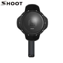 SHOOT podwodny Port kopułowy dla GoPro Hero 7 6 5 czarny z uchwytem pływakowym wodoodporna obudowa osłona przeciwsłoneczna osłona obiektywu Go Pro 6 5 7 akcesoria