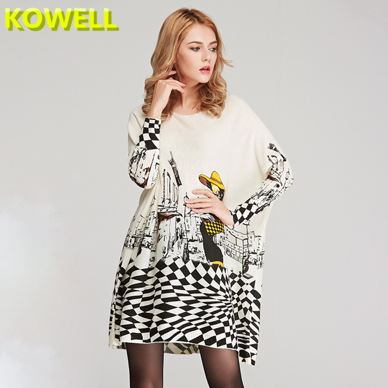 2018 Hot Sale Spring Women Long Sweater Casual Coat Batwing Sleeve Print Womens Clothes Pullovers Fashion Pullover Clothing