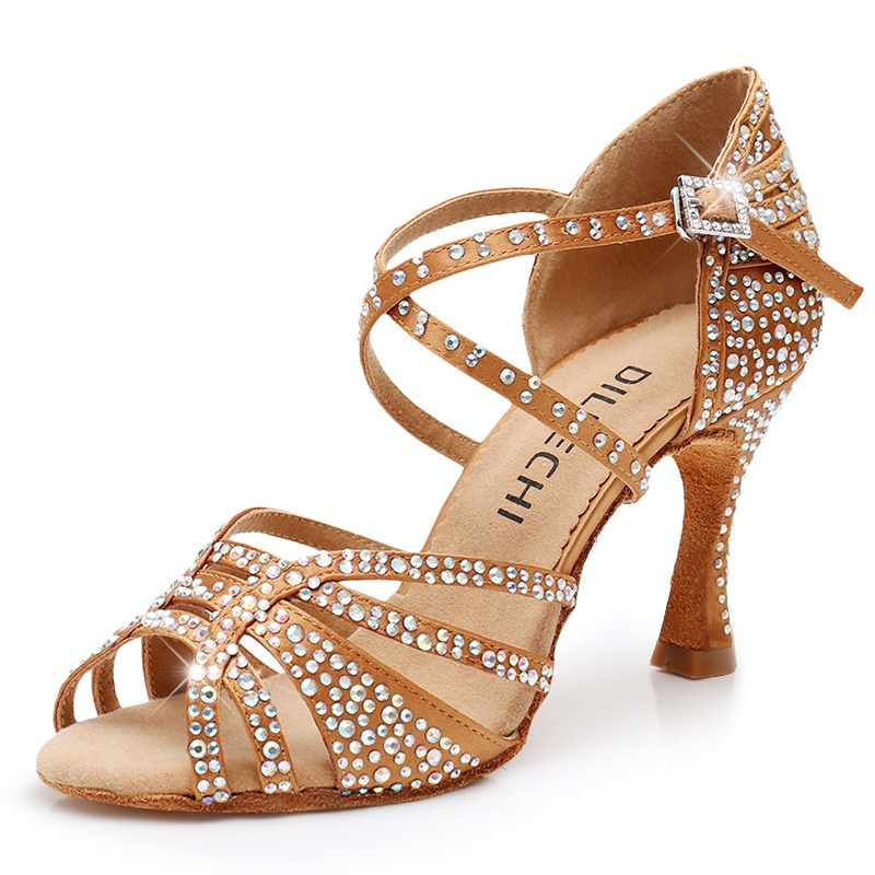 Dance Shoes Sneakers Women Latin Dance Sneakers Gold&silvery Glitters Med High Heel Suede Outsole Latin Ballroom Dance Shoes