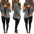 Womens Fashion Tied Deep V Neck T-Shirt Femme Sexy Long Sleeve Turtleneck Knitted Shirts Tops T Shirt 8 Color 2016 Autumn SH242