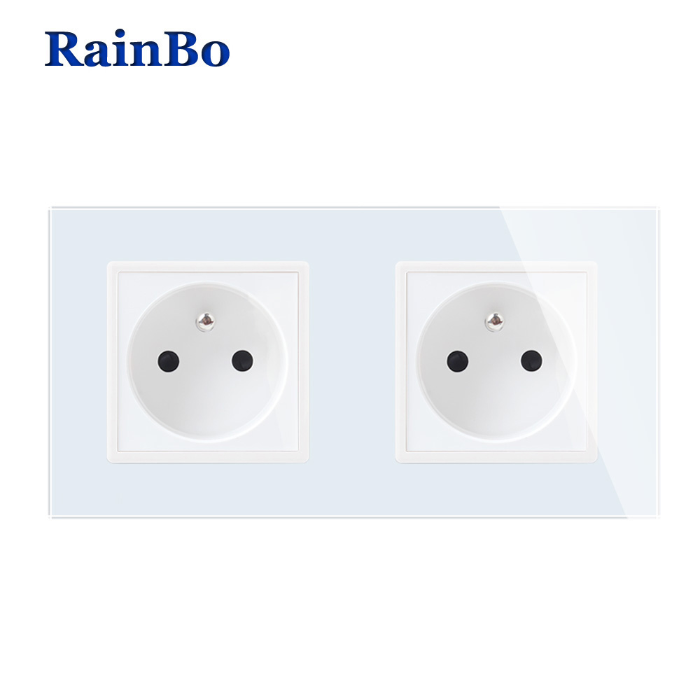 RainBo Wall-France Power-Socket Glass-Panel AC250V-Wall Power-Smart Outlet-Wall Socket-Manufacture A28F8FW/B