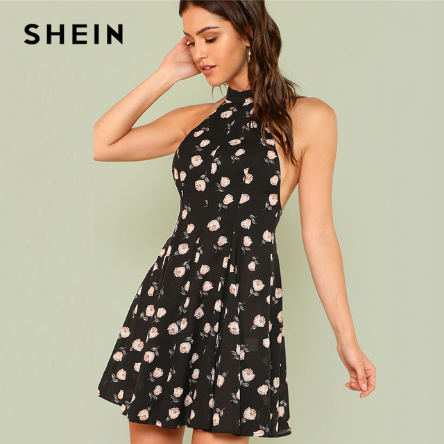 8ea0c469f2d SHEIN Open Back Flower Print Halter Dress 2018 Summer Sleeveless Halter  Floral Sexy Dress Women Short