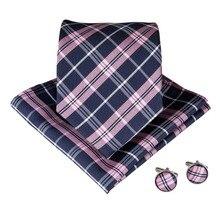 Luxury Mens Tie 8CM Pink Black Plaids Silk Neckwear Jacquard Woven Neck Ties For Men Formal Business Wedding Necktie N-7019 n 0561 vogue мужчин шелковым галстуком набор plaids
