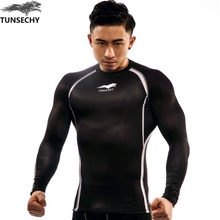Muscle Men Compression Tight Skin Shirt Long Sleeves 3D Prints TUNSECHY brand Fitness Base Layer Weight
