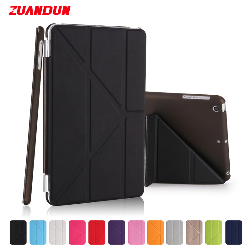 все цены на ZUANDUN Smart Flip Case For iPad mini Luxury Transparent Clear Leather Cover For Apple iPad mini 1 2 3 Tablets Case Auto Sleep онлайн