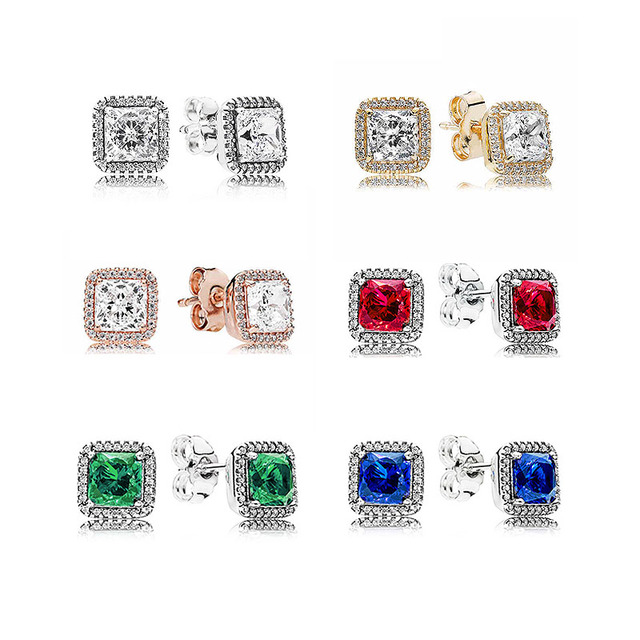 1d41e4aec Rose Blue&Green&Red Timeless Elegance Earring Studs 925 Sterling Silver  Earrings For Women Wedding Party Gift Pandora Jewelry