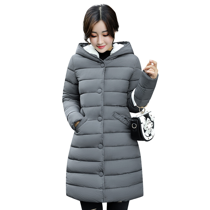 Winter Jacket Women Cotton Wadded Jacket Parkas Female Warm Cotton Coat Long Overcoat Hoodies Plus Size M-3XL Campera MZ1890g 2017 new winter women wadded jacket outerwear plus size hooded loose thickening casual cotton wadded coat parkas student ws299