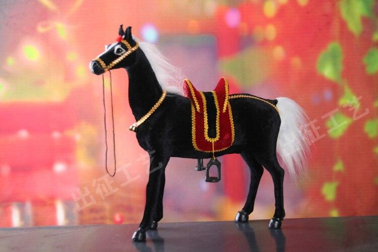 Grand cheval de simulation jouet polyéthylène & fourrures nouveau cheval avec selle cadeau environ 50x13x44 cm 2508