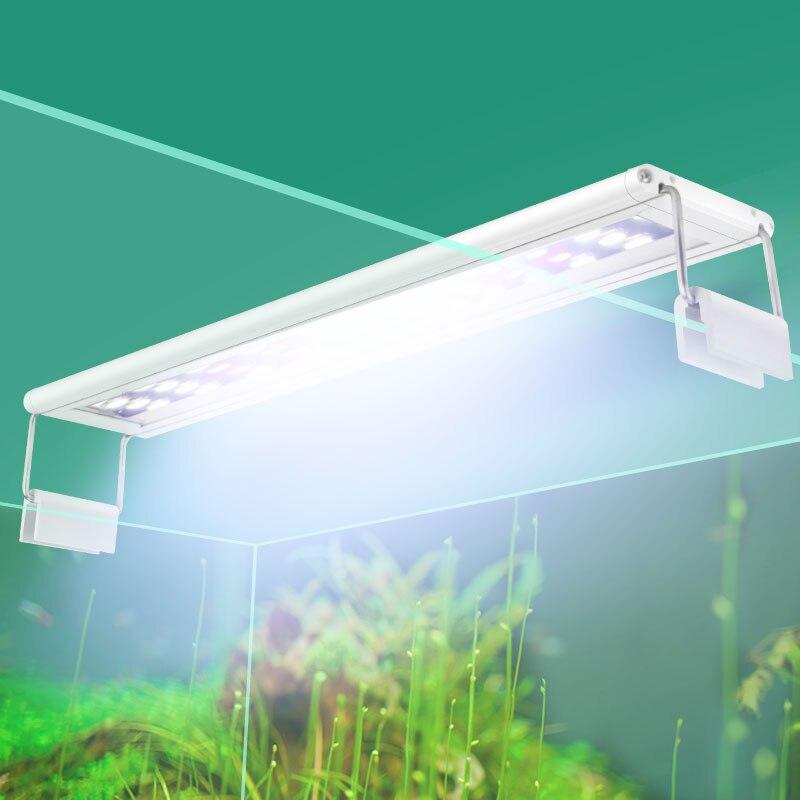 Acuario iluminación LED 15-57 cm alta calidad Fish Tank lámpara con soportes extensibles LEDs blancos y azules cabe para acuario
