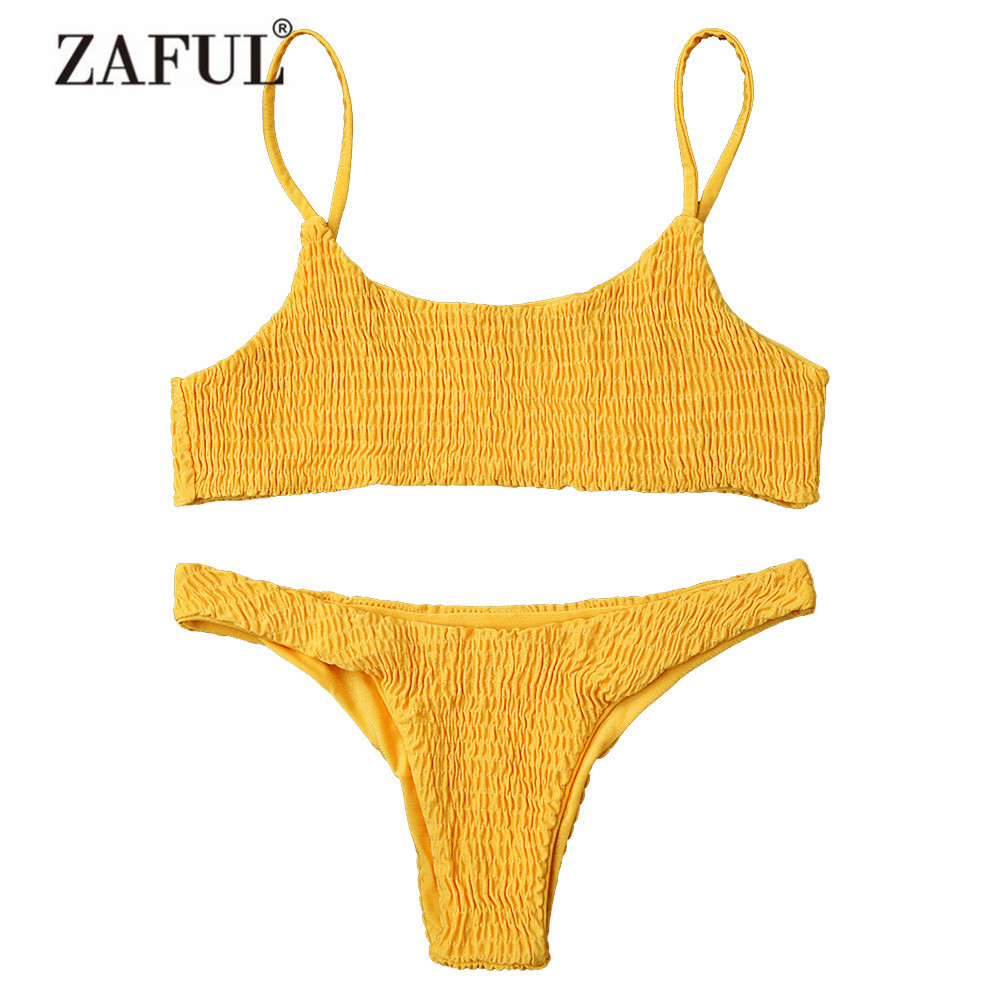ZAFUL Women Swimwear Bikini Cami Smocked Bikini Top and Bottoms Sexy Low Waisted Spaghetti Straps Swimsuit Women Bathing Suit zaful 2017 women new one shoulder bikini top and bottoms sexy low waisted bralette one shoulder swimsuit summer beach bikini
