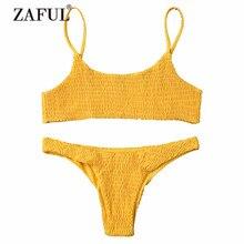 ZAFUL font b Women b font Swimwear font b Bikini b font Cami Smocked font b