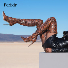 Perixir Thigh High Over the Knee Boots for Women Shoes Snakeskin Pointed Toe Super Thin Heels Long Bottine Femme