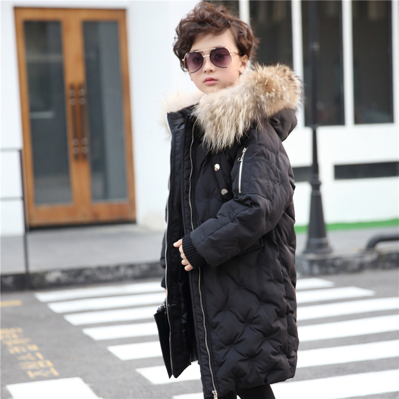 2018 New Fashion Children Winter Jacket Baby Girl Winter Coat Kids Warm Thick Fur Collar Hooded Long Down Coats Teenage 1-12Yrs стоимость