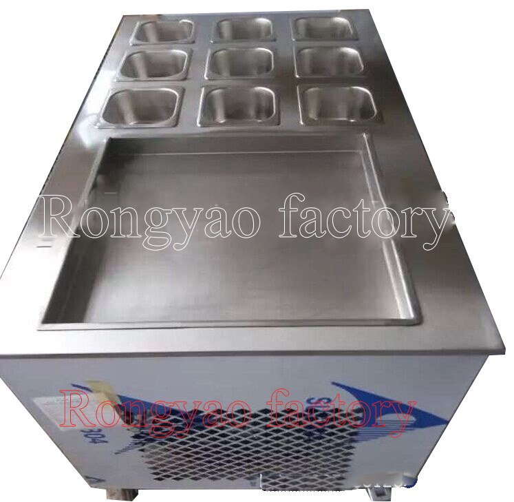 1 square pan Fried Roll ice cream rolls machine in Thailand Street Food with 9 bucket stainless steel thai Ice Cream rolls