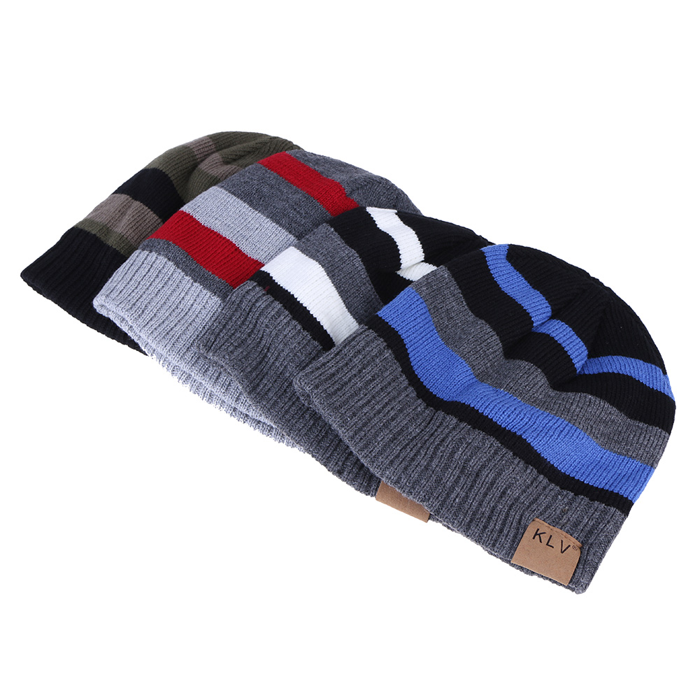 Man Women Beanies Skullies Winter Autumn Classic Hats Chic Contrast Color Knitted Wool Cap Warm Striped Hat Thicker Skullies skullies