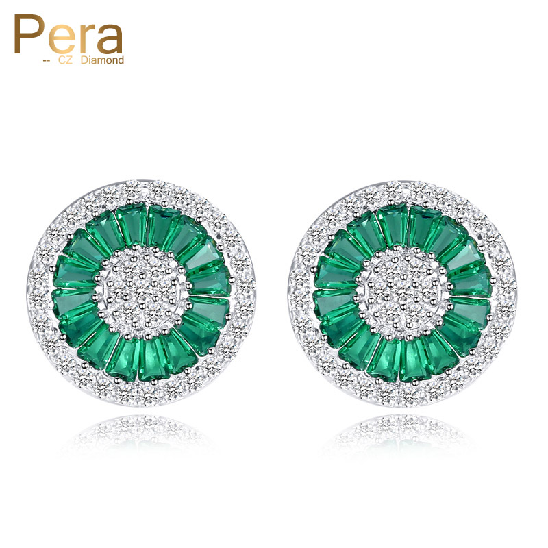 все цены на Pera Elegant Design Cubic Zirconia Pave Setting Silver Color Women Party Big Round Green Crystal Stud Earrings For Gift E207 онлайн