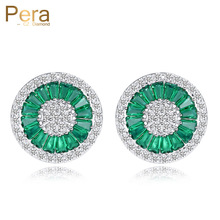 Pera Elegant Design Cubic Zirconia Pave Setting Silver Color Women Party Big Round Green Crystal Stud Earrings For Gift E207