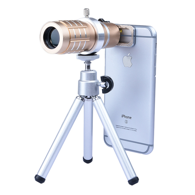 2017 6in1 Phone Camera Lentes kit 12x Optical Zoom TelephotoTelescope Lens For iPhone 6 6s 7 Plus 5 5s Xiaomi With Clips Tripod