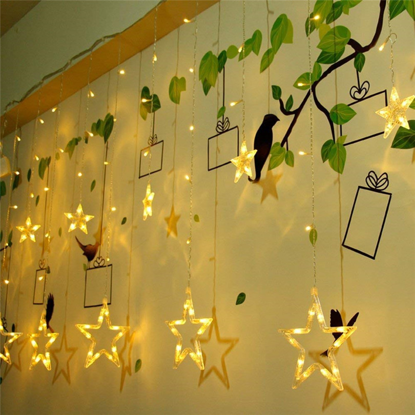 Image 4 - 4.5M Star Curstain LED String Light 138 Leds Christmas Lights Decoration for Home Bedroom Window Birthday Party Holiday Lighting-in LED String from Lights & Lighting