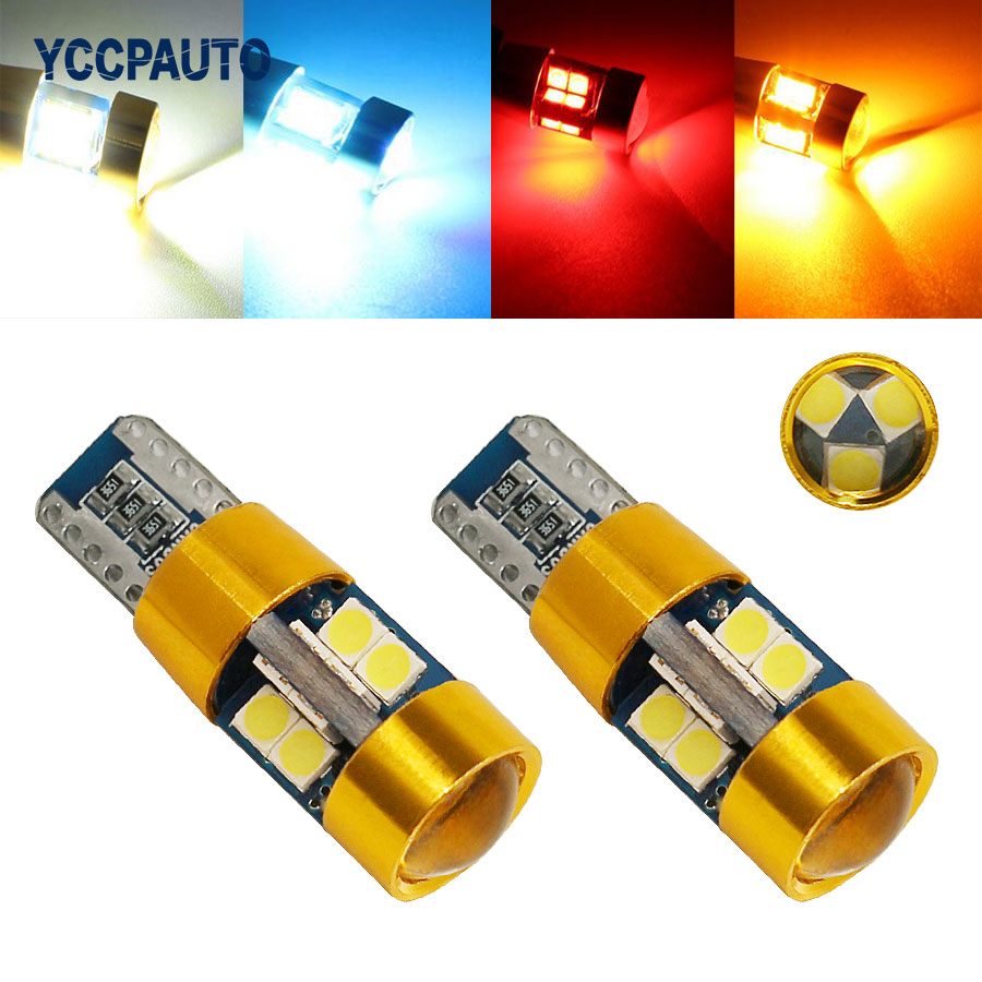 T10 Led Lights Canbus Car LED Bulbs W5W 192 168 Wedge Lamp Light Dome Reading Light 12-24V 2Pcs New High Power 3030 19 SMD deechooll 2pcs wedge light for mazda 2 3 5 6 mx5 rx8 cx7 626 gf gg ge gw canbus t10 57smd 6w led clearance xenon lighting bulbs