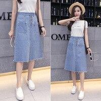Women Fashion Denim Skirt High Waist A Line Dress Figure Flattering Slim Skirt Middle Length Wrap