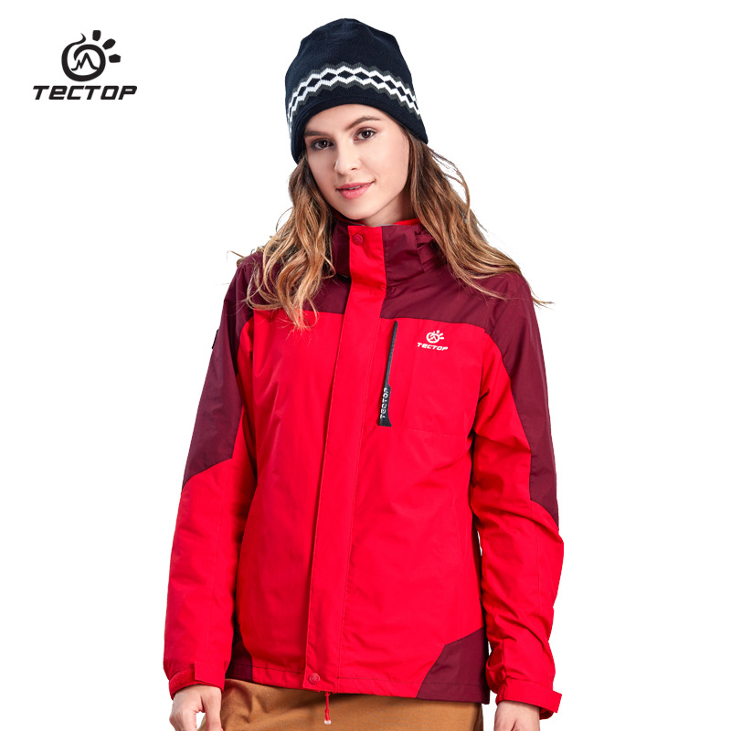 TECTOP Winter Women 3 in 1 Hiking Jackets Outdoor Travelling Skiing Climbing Waterproof Thermal Two-piece Coats S-XXXL new winter 3 in 1 kids hiking jackets children boys girls waterproof thermal two piece fleece coats hiking skiing jacket