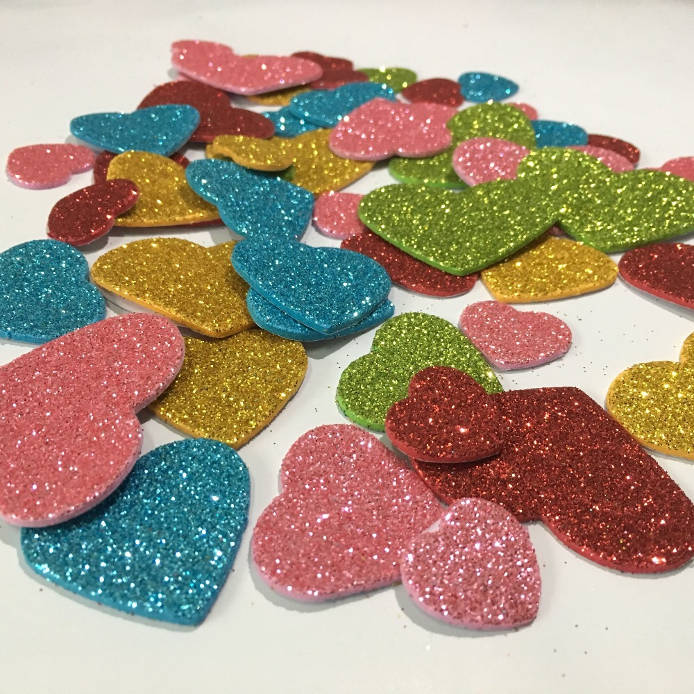 Pack of 50 pcs Glitter Foam Heart Shape Mixed Self Adhesive Sticker for Kids YG