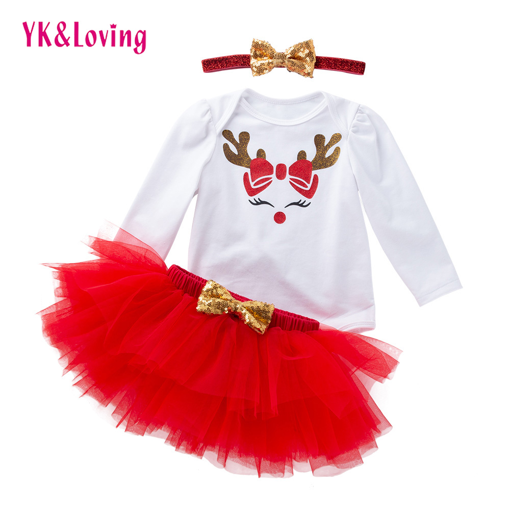 Girl Christmas Skirt Elk Long Sleeve Baby Girl Skirt Baby Girl Costume Lovely Red Holiday Princess Clothes Baby Tutu 2018 New princess skirt pet dog clothes tee costume