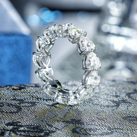 5 0mm Heart Cut Moissanite Full Eternity Ring In 14K White