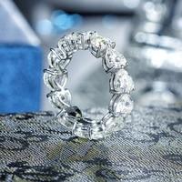 5 0mm Heart Cut Moissanite Full Eternity Ring In 14K White
