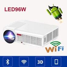 LED96 5500 lúmenes 1280×800 del Androide 4.4 WIFI de Vídeo de Cine En Casa LCD 1080 P uC40 LED Full HD DVB-T TV 3d Proyector Beamer proyector