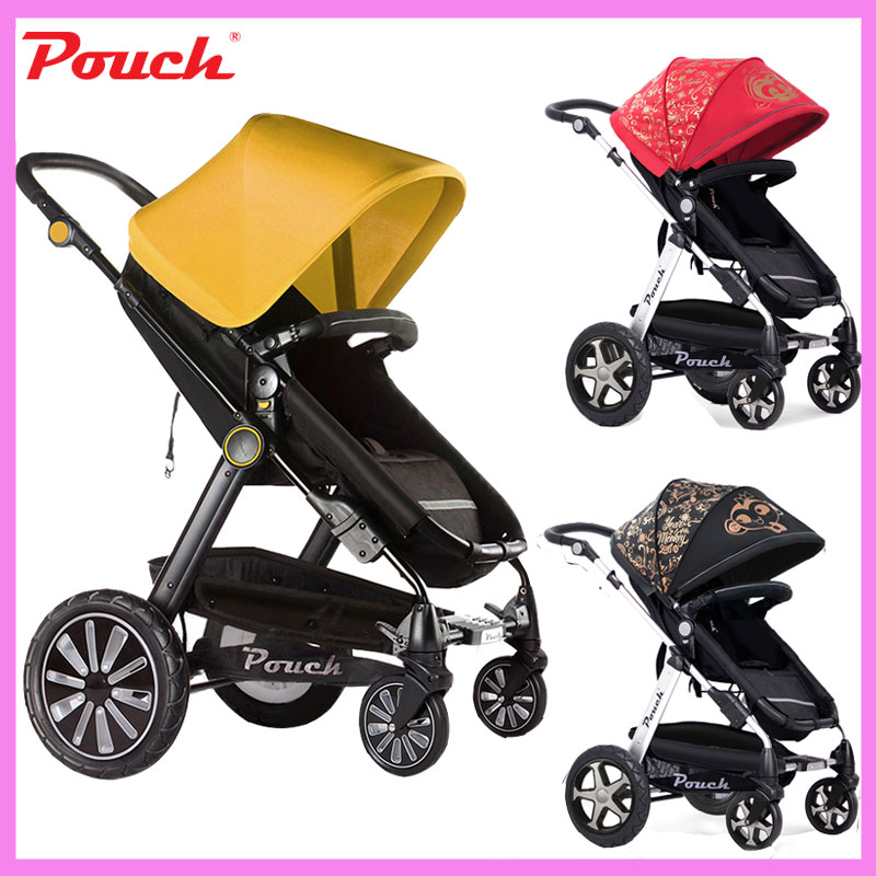 Patent Design High Landscape Luxury Baby Stroller Cart Four Wheels Trolley Can Sit Lie Summer Umbrella Lightweight Folding Pram high landscape suspension stroller four wheel two way light folding sit lie baby cart