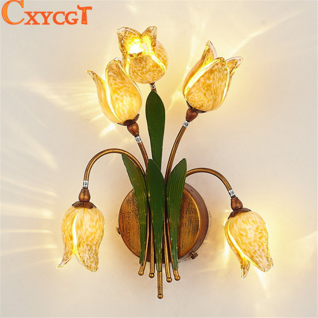 Decorative Wall Sconces For Flowers aliexpress : buy art decor flower wall sconces lamp lighting