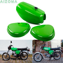 ( 200200 ) Green Fuel Tanks Motorcycle Retro Oil Gas Tank w/ 2pcs Side Cover Pad For Simson S50 S51 S70  All Years pazoma motorbike steel green orange gas tank motorcycle fuel tank for simson s50 s51 s70