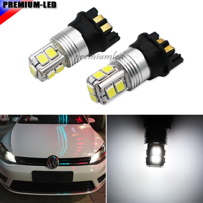 Xenon White Canbus 10-SMD PW24W PWY24W LED Bulbs For Audi BMW Peugeot Volvo VW Turn Signal Lights or Daytime Running Lamps,12V