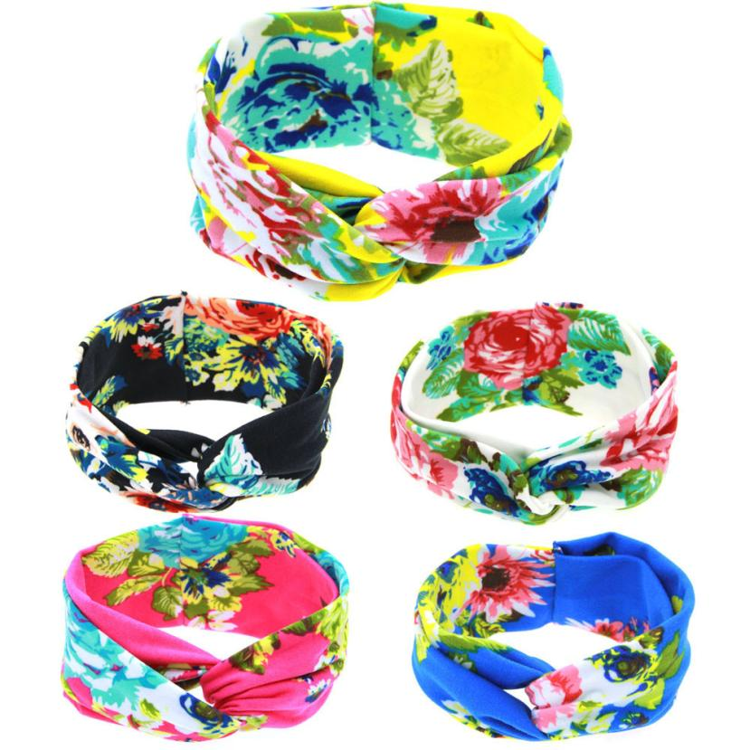 TELOTUNY 2018 Baby Peony Printing Intersect Elastic Cloth Headband For Baby Girls Headwear FEB15