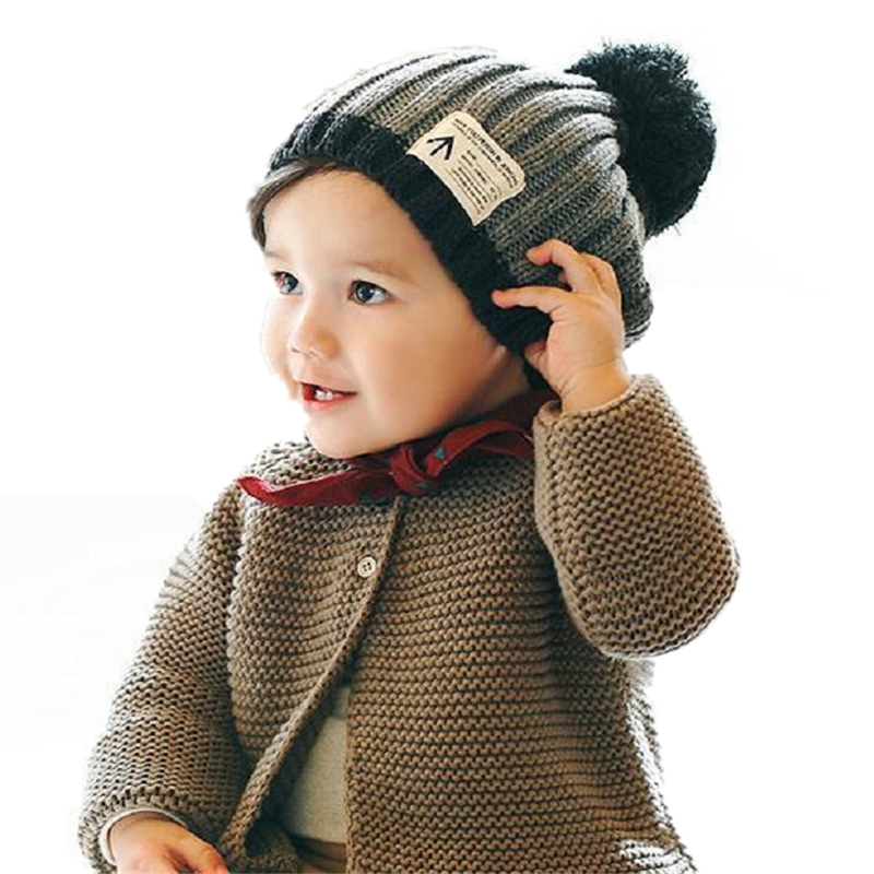 5d5d70c770c New Fashion Baby Boy Hat Woolen Set Head Cap Ball Top Children Solid  Comfortable Black Blue Print Fitted Patchwork Boys Hat-in Hats   Caps from  Mother ...