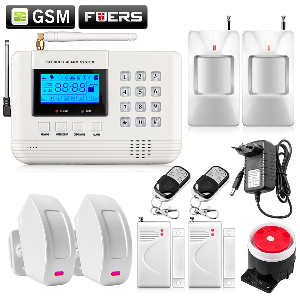ФОТО Metal Remote Control Voice Prompt Wireless curtain detector sensor Home Security GSM PSTN Alarm systems LCD Display Wired Siren