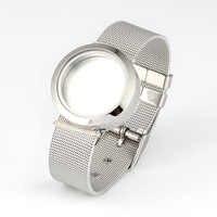 316L Edelstahl Wasserdicht 25mm/30mm Schraube Top Silber Schwimm Medaillon Armband mit Mesh Armband