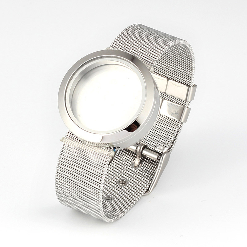316L Stainless Steel Waterproof 25mm/30mm Screw Top Silver Floating Locket Bracelet with Mesh Watchband