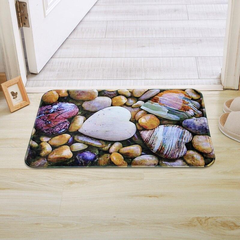 LIU 3D foot print heart Pebbles Door Mat Coral Fleece Floor Carpet Anti Slip Kitchen Absorbent Bathroom Rugs Living Room Doormat