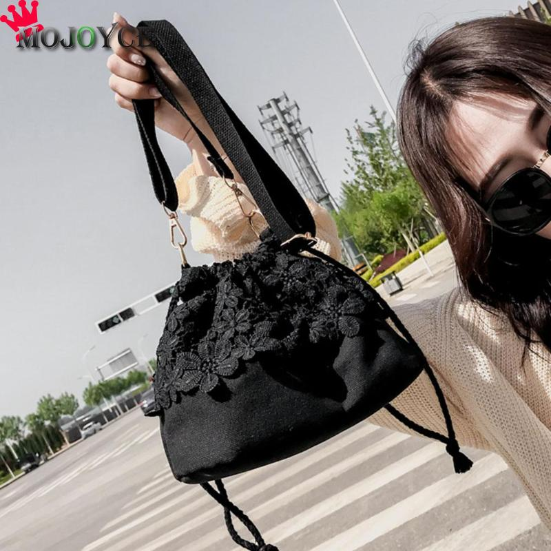 2018 New Lace Canvas Shoulder Bag Women Bucket Handbags Small Party Messenger Bags Fashion Ladies Black White Crossbody Bags 2018 fashion lady handbags women canvas messenger bags shopping bags ladies casual green striped smiling face hand bag party