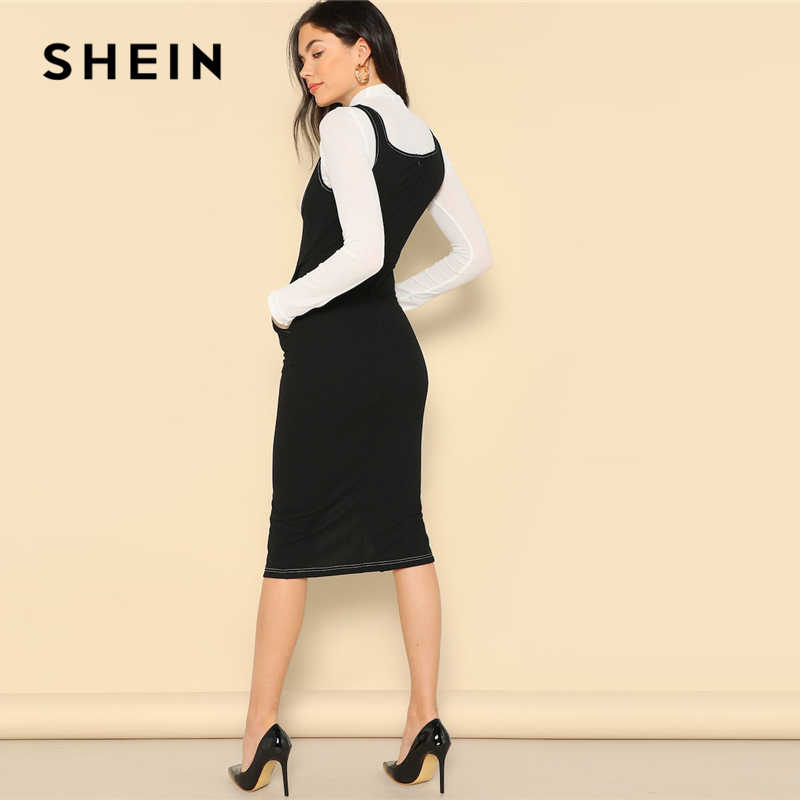 38de6d7d71852c ... SHEIN Black Slit Hem Button Front Bodycon Pinafore Sheath Straps Plain  Dress Women 2019 Summer Sleeveless ...