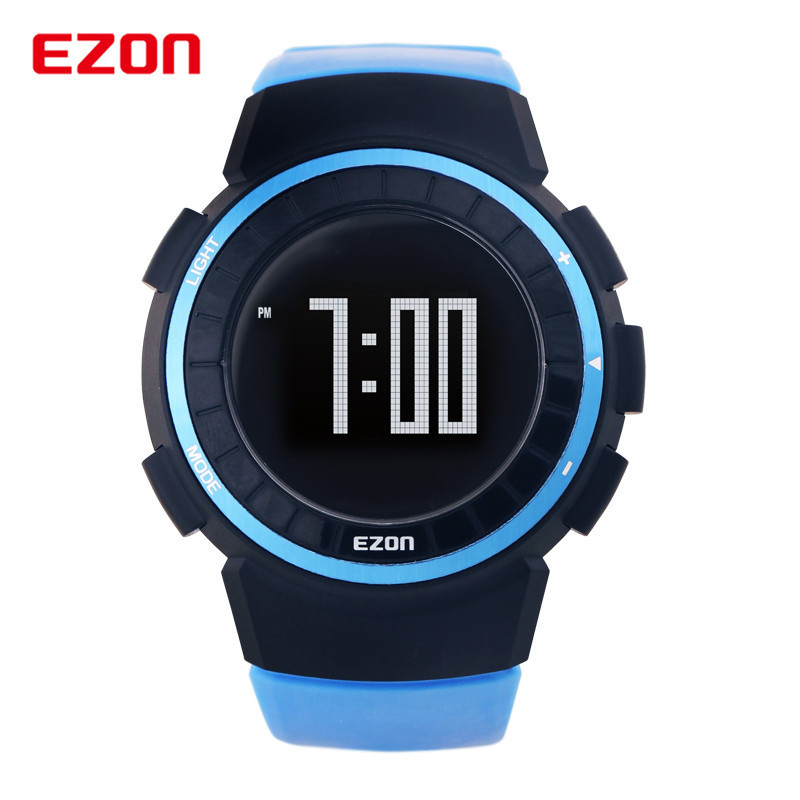 EZON Men Running Outdoor Digital Watches Sports Pedometer 50M Waterproof Calorie Counter Fitness Multifunction Wrist Watch T029 ezon outdoor sports for smart gps watches running male multifunctional 5atm waterproof electronic watch g1 black