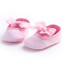 LANSHITINA 0-18Months Skid-Proof First Walkers Shoes Baby Newborn Girls Bow Soft Soled Non-slip Footwear Crib Shoes Soft 447 1pair baby first walkers red camouflage pattern soft leather shoes lace up fashion non slip footwear crib shoes all season