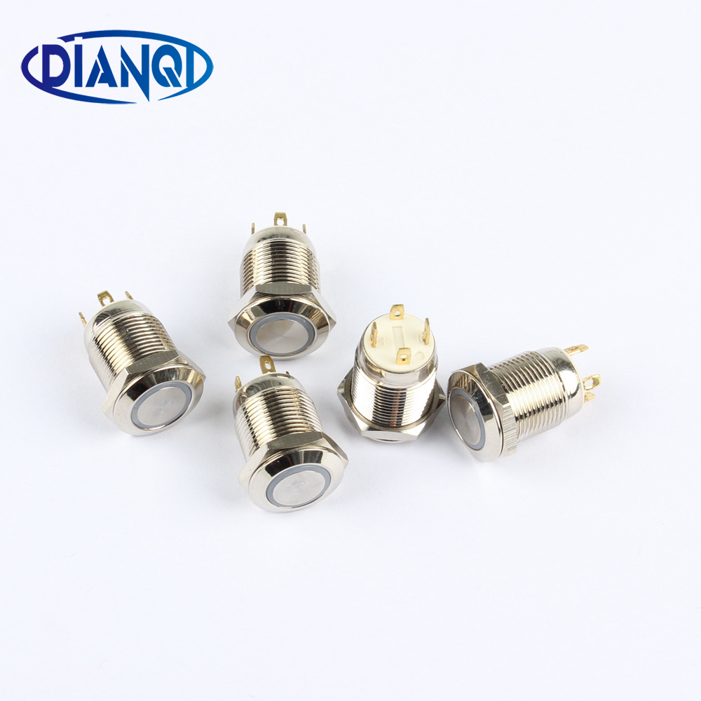 12mm High Round head Waterproof Momentary Metal Push Button Switch LED Light Shine Car Horn Auto Reset12HX.F